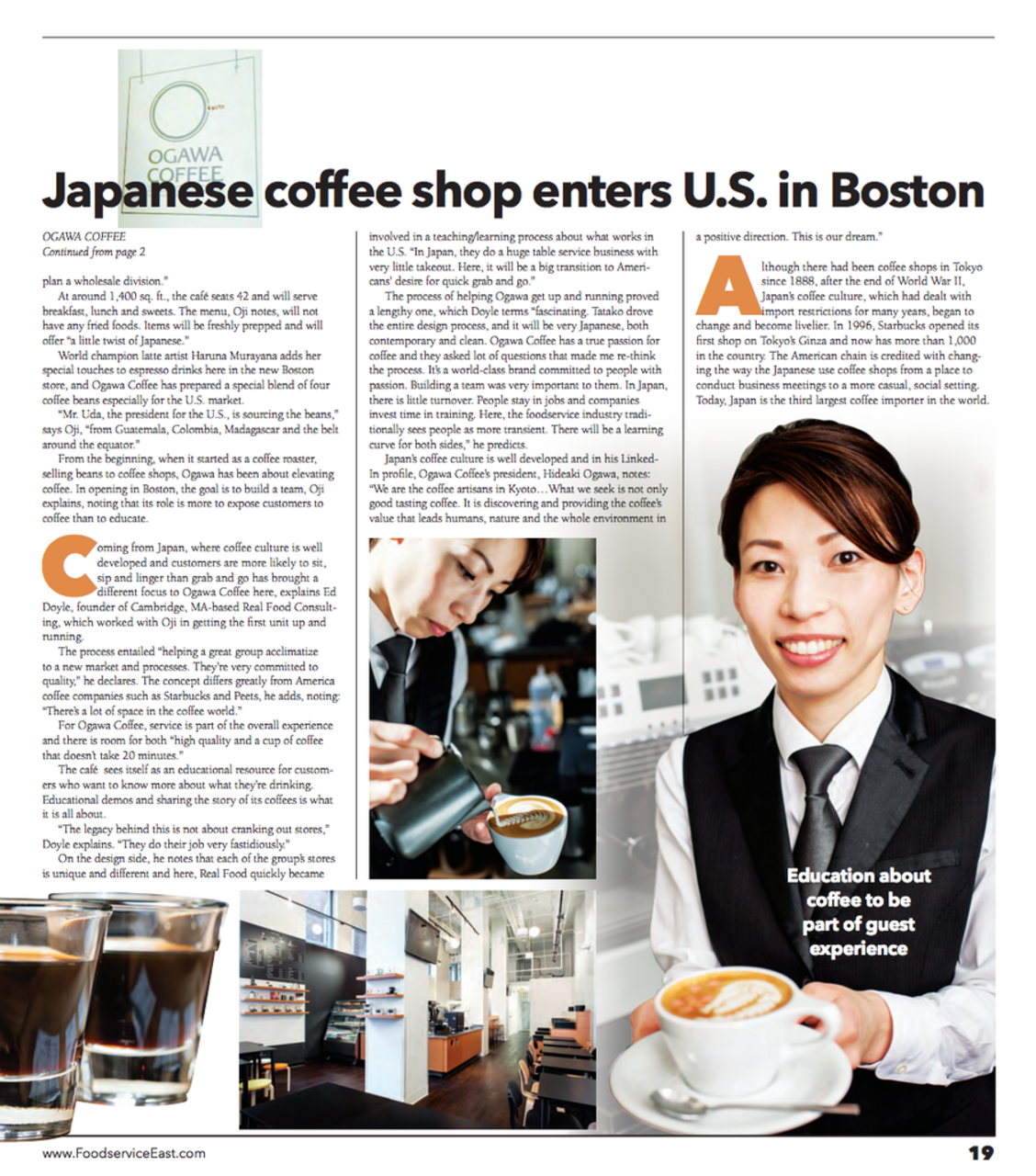 Image of Ogawa second page article in FoodService East
